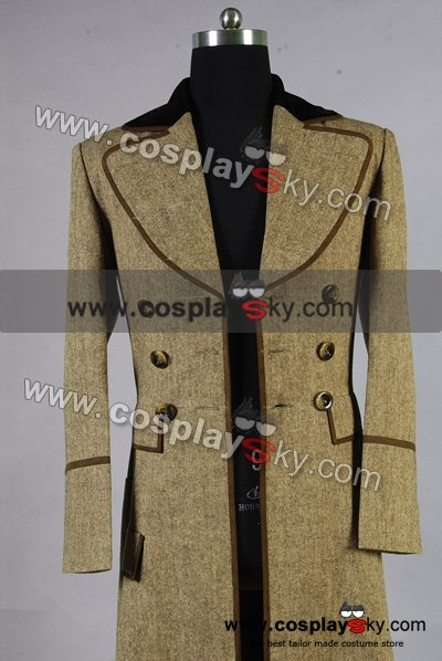 Doctor Who Dr. Ecru Brown Long Trench Coat Suit Costume Custom Made