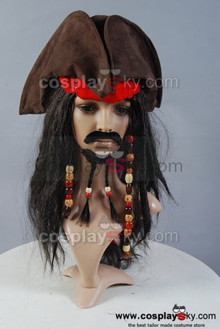 Pirates of the Caribbean Jack Sparrow Hat Wig Headband Set