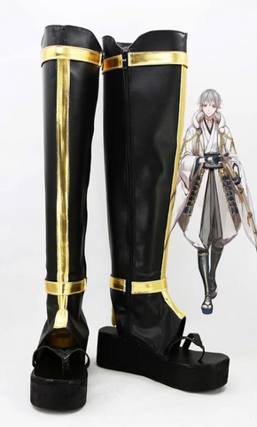 Touken Ranbu Tsurumaru Kuninaga Boots Cosplay Shoes Black Version