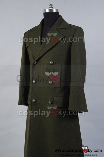 Doctor Who Dr. Dark Green Long Wool Trench Coat Costume