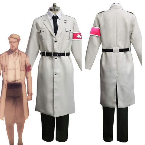 Attack on Titan Shingeki no Kyojin S4 Marley Army White Uniform Outfits Halloween Carnival Suit Cosplay Costume