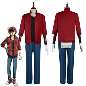 Cells at Work! Code Black/Hataraku Saibou Black -Sekkekkyuu /Red Blood Cell Cosplay Costume Coat Pants Outfits Halloween Carnival Suit
