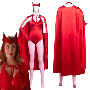 WandaVision Scarlet Witch Wanda Maximoff Women Jumpsuit Outfits Halloween Carnival Suit Cosplay Costume