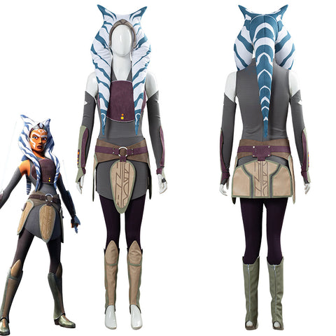 Star Wars Rebels Ahsoka Tano Women Dress Outfit Halloween Carnival Costume Cosplay Costume