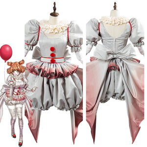 Pennywise Horror Pennywise The Clown Costume Outfit for Women Girls Halloween Carnival Cosplay Costume
