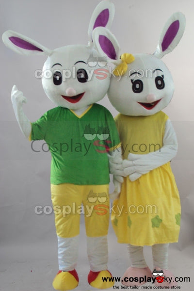 Couple Rabbits Mascot Cosplay Costume Fancy Dress Outfit