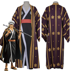 One Piece Trafalgar Law/Trafalgar D Water Law Kimono Robe Full Suit Outfit Halloween Carnival Costume Cosplay Costume