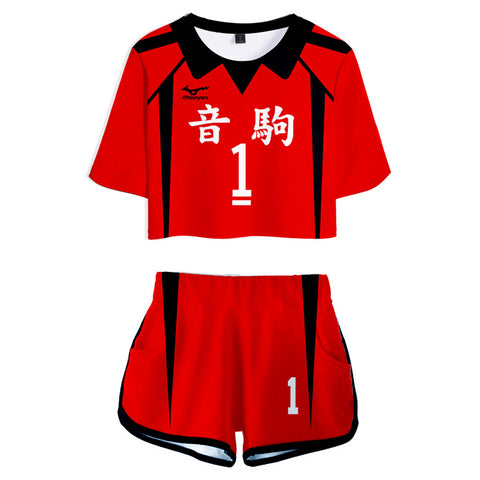Haikyuu Nekoma High School NO 1 Kuroo Tetsurou Jersey Sports Wear Uniform Top Shorts for Women Cosplay Costume
