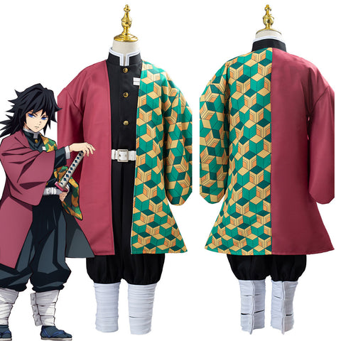 Anime Demon Slayer Kimetsu no Yaiba Tomioka Giyuu Uniform Outfit Cosplay Costume for Kids Children
