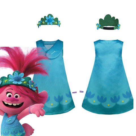 Trolls 2:World Tour Poppy Kids Children Dress Halloween Carnival Costume Cosplay Costume