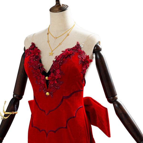 Final Fantasy VII Remake Aerith Aeris Gainsborough Red Party Dress Halloween Cosplay Costume