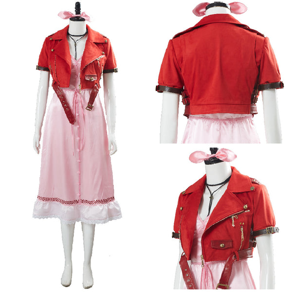 Final Fantasy VII 7 Aerith Aeris Gainsborough Pink Dress Outfit Cosplay Costume