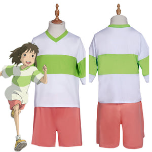 Spirited Away-Ogino Chihiro T-shirt Shorts Outfits Halloween Carnival Suit Cosplay Costume