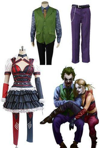 Batman Harley Quinn Cosplay Costume And Joker Pants+ Tie + Vest + Shirt
