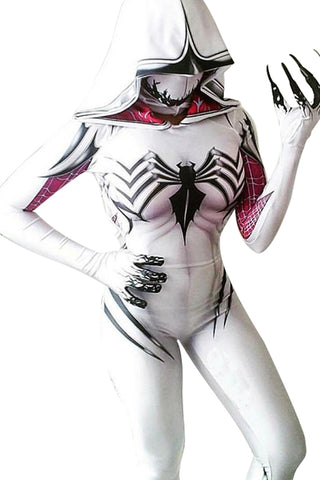 Spider-Gwen Gwen Stacy Body Suit Jumpsuit Cosplay Female Spider-Man Outfit White