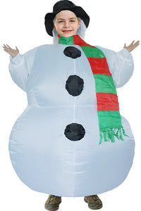 "Christmas Gift Kids Snowman Inflatable Blow up Costume 47"" to 59"""