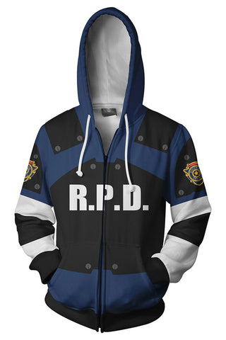 Resident Evil 2 Remake Re Leon Scott Kennedy Hoodie Teen Zip Up Sweatshirt