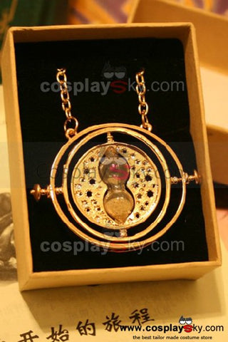 Harry Potter Hermione Granger Time Turner Rotating Hourglass Pendant Necklace