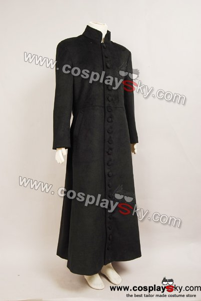The Matrix Cosplay Neo Black Trench Coat Costume Suit Male Outwear Halloween New