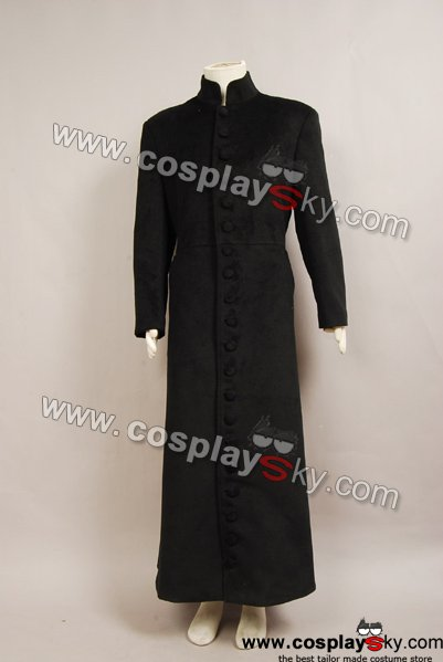Matrix Neo Trench Coat Costume Black Wool