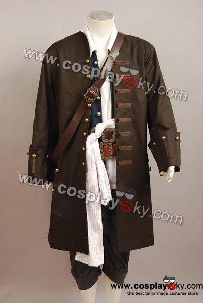 Pirates Of The Caribbean Jack Sparrow Jacket Vest Belt Shirt Pants Costume Set