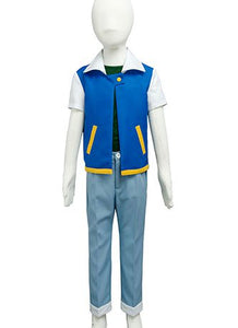 Pokemon Ash Ketchum Satoshi Costume Season 1 Original Child Cosplay Costume Kid Version