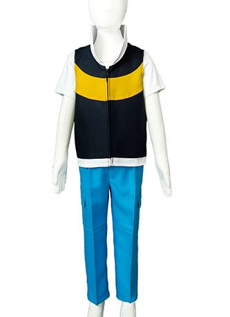 Pokemon DP Ash Ketchum Satoshi Season 3 Diamond and Pearl Kid Cosplay Costume