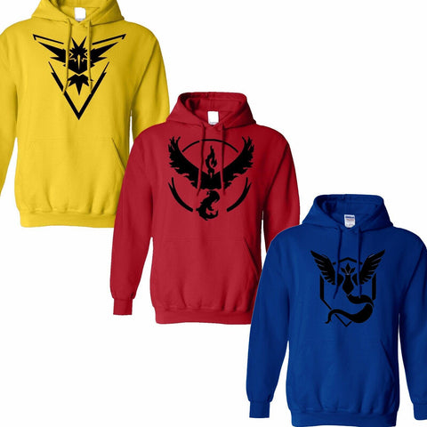 Pokemon Go Logo Team Valor/Instinct/Mystic Symbol Hoodie Cosplay Costume