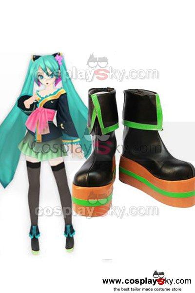 Vocaloid Black 2 Hatsune Miku Cosplay Shoes Boots