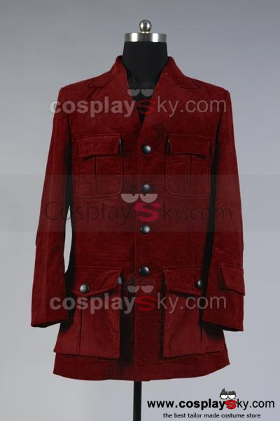 Doctor Who Dr. Dark Red Corduroy Trench Coat Costume