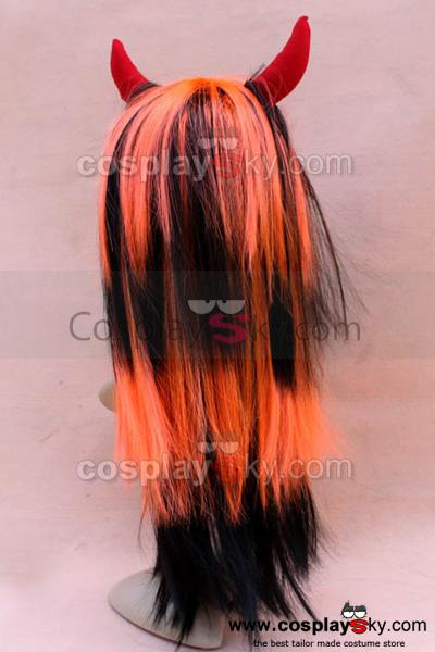 Wigs with Ox Horn Black&White Black&Red Black&Orange
