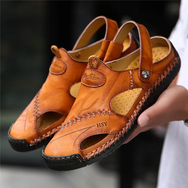 fe2fc9e39 Men Hand Stitching Soft Outdoor Closed Toe Leather Sandals – YEEZE