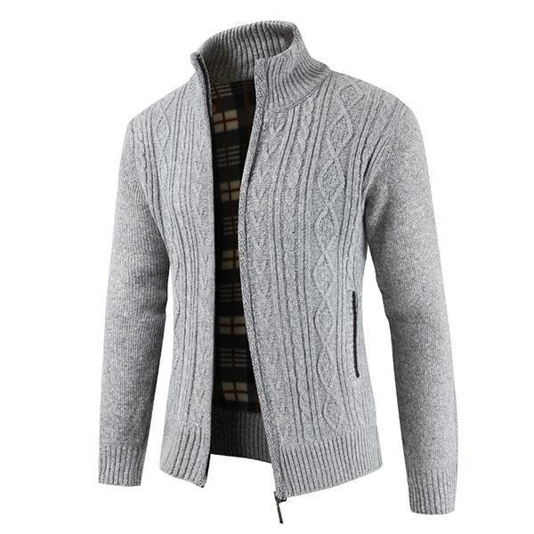 Men Knitted Collar-neck Pure Color Sweater