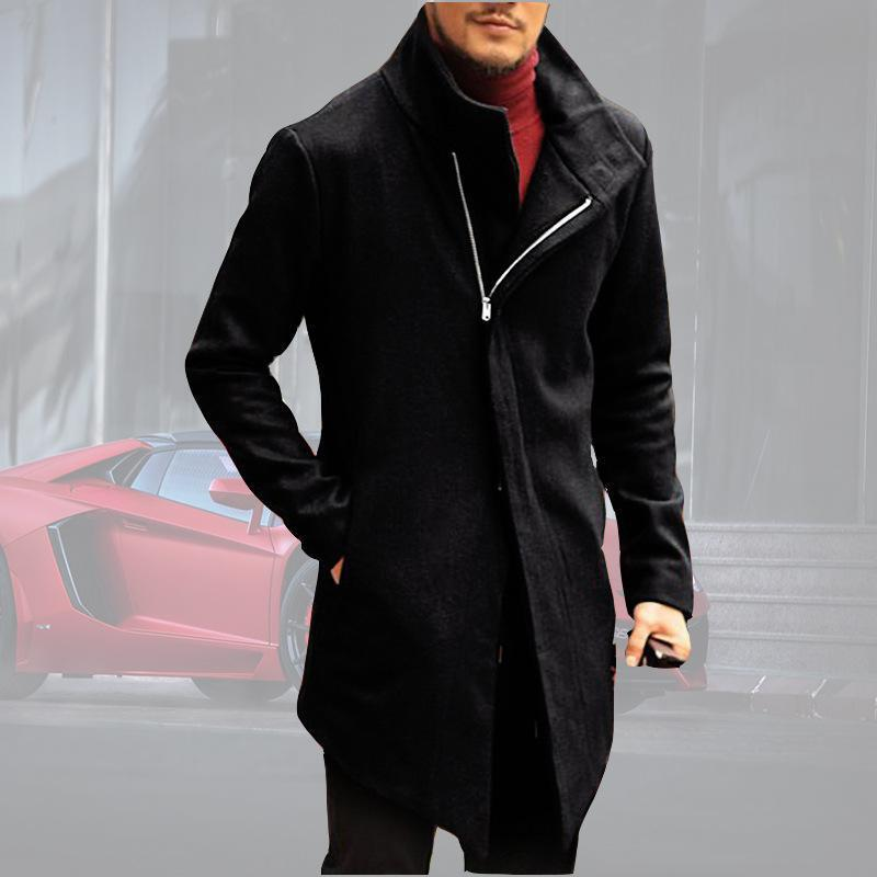 Men Stand Collar Fashion Solid Color Coat