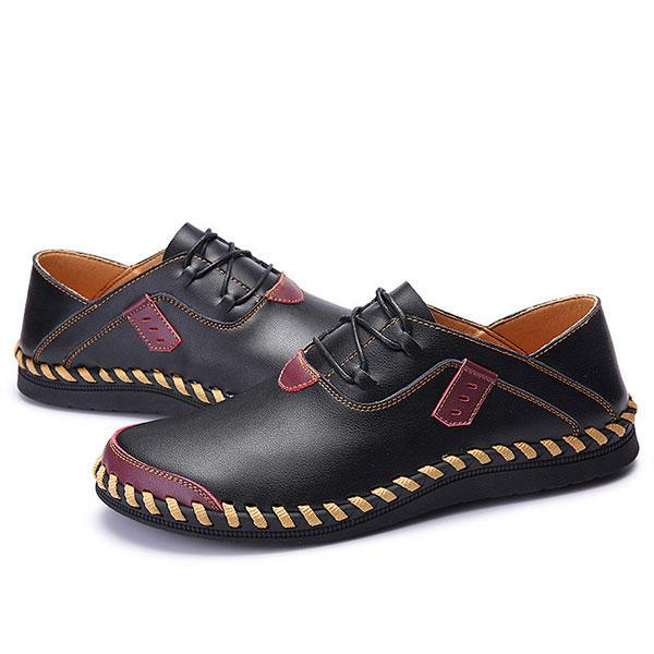Large Size Men Shoes Genuine Leather Lace Up Hand Stitching Casual Oxfords