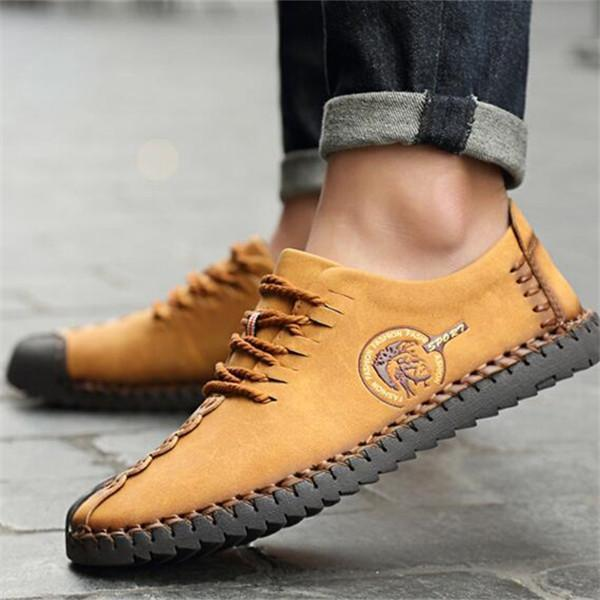 Fashion Comfortable Casual Shoes Loafers Men Shoes Quality Split Leather Shoes Men Flats  Shoes