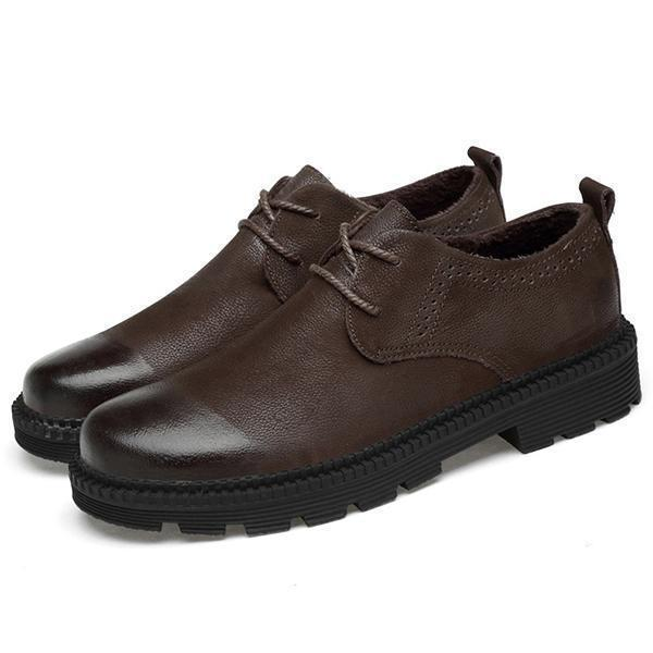 Men Genuine Leather Warm Plush  Lace Up Shoes