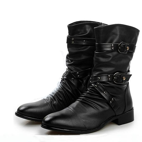 Men Casual Leather Pointed Toe Buckle Boots
