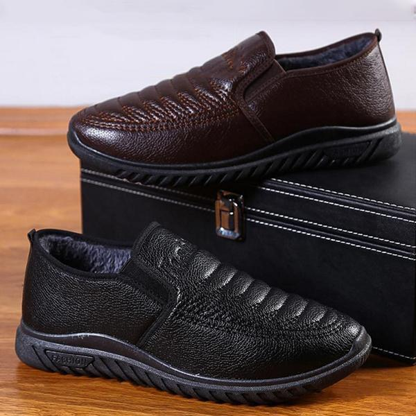 Men Leather Soft Warm Plush Lining Slip On Casual Shoes