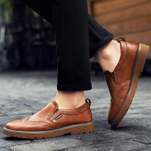 Men Carved Leather Non-slip Slip On Brogue Casual Formal Shoes