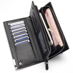 Men's PU Leather Wallet Casual Business Multi-functional Zipper Clutch Bag