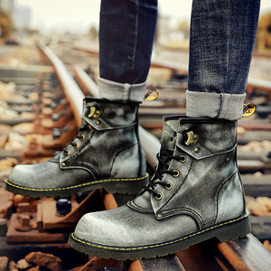 Men British Style Vintage Color Cow Leather High Top Boots