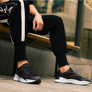 Men Knitted Fabric Breathable Light Lace Up Casual Sneakers