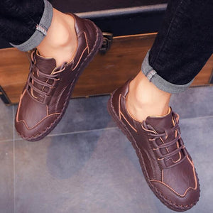 Men Hand Stitching Leather Soft Sole Casual Shoes