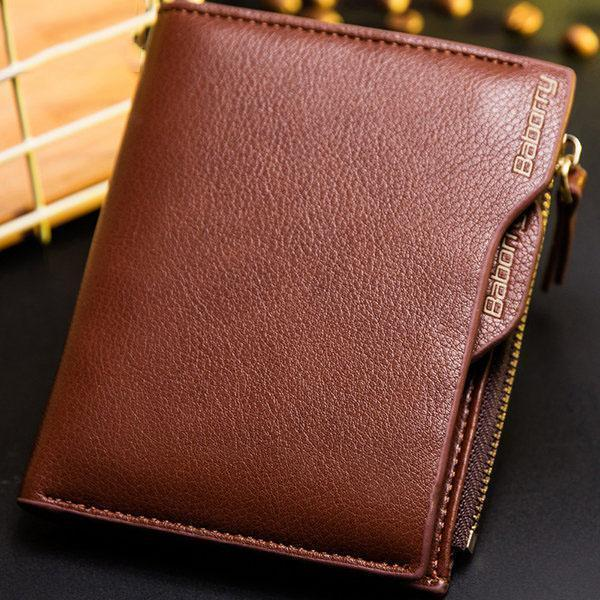 Men's RFID Antimagnetic 6 Card Holders Wallet Business PU Leather Coin Bag