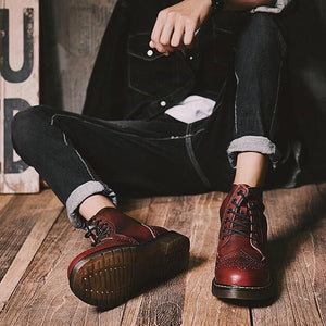Men Retro Carved High Top Lace Up Brogue Ankle Casual Boots