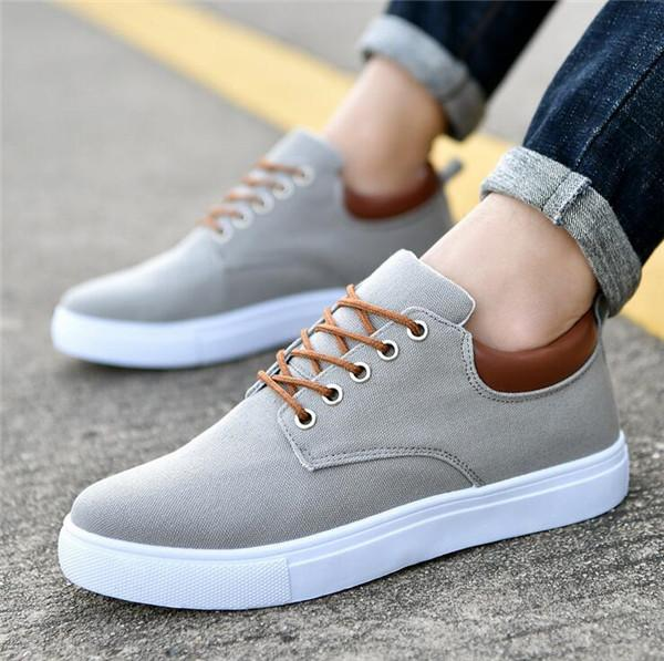 New Arrival Comfortable Casual Shoes Mens Canvas Shoes For Men Lace-Up Brand Fashion Flat Loafers Shoe