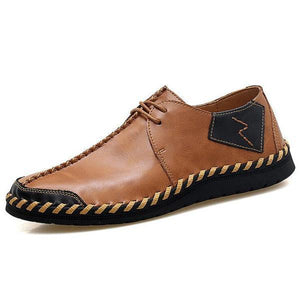 Men Genuine Leather Handmade Stitching Soft Soles Lace Up Casual Shoes