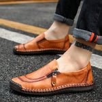 Men Comfy Hand Stitching Genuine Leather Side Zipper Slip On Oxfords