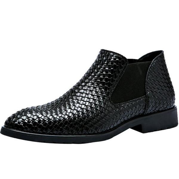 Large Size Men Woven Stylish Elastic Slip On Ankle Boots